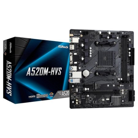 Placa Mãe Asrock AMD A520M-HVS Socket AM4 Chipset AMD A520