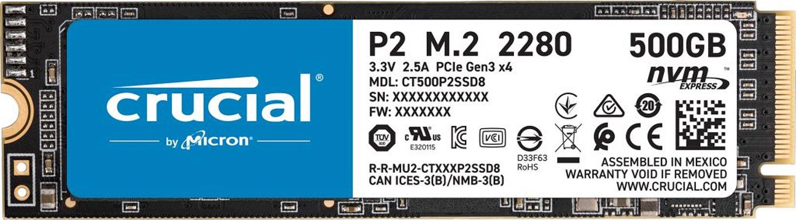 Hd SSD 500gb M.2 Nvme 2280 Crucial - CT500P2SSD8