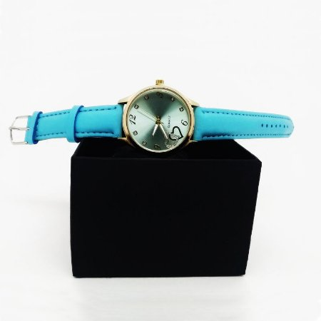 Relógio Feminino Pulseira Couro - Azul Claro Dourado