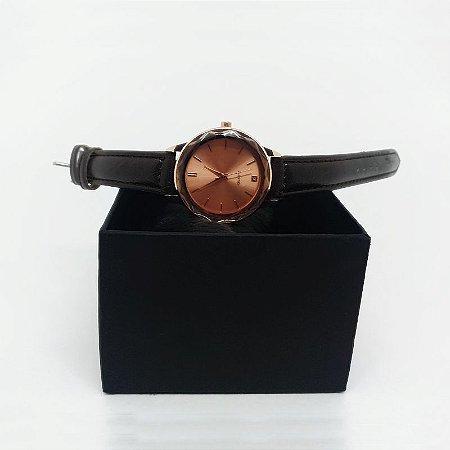 Relógio Feminino Pulseira Couro - Marrom Rosê