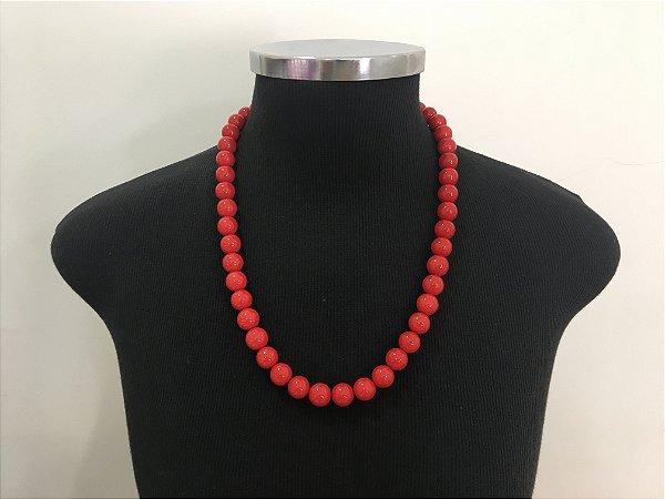 Colar Folheado Pedra Coral Vermelho - 301