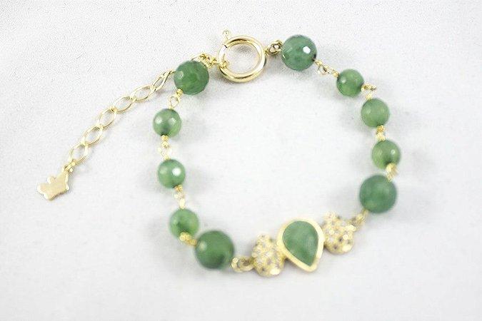 Pulseira Folheada Pedra Jade Verde - 353