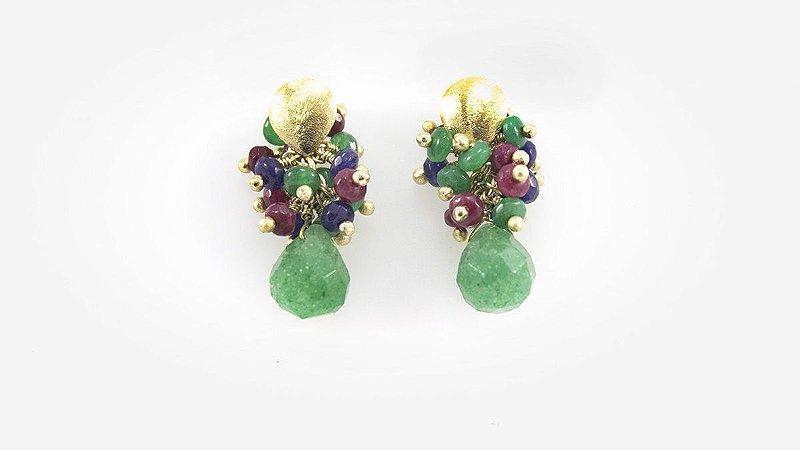 Brinco Folheado Pedras Cacho - 415
