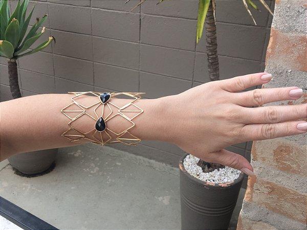 Bracelete Folheado Pedra Ágata Preta - 359