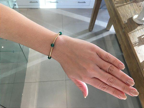 Pulseira Folheada Pedra Jade Verde - 1157200037