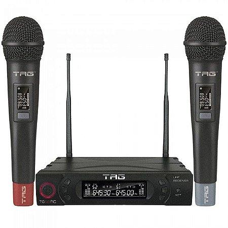 Sistema De Microfone Duplo Multi-Canal Sem Fio De Mão UHF TG-8802 - Tag Sound