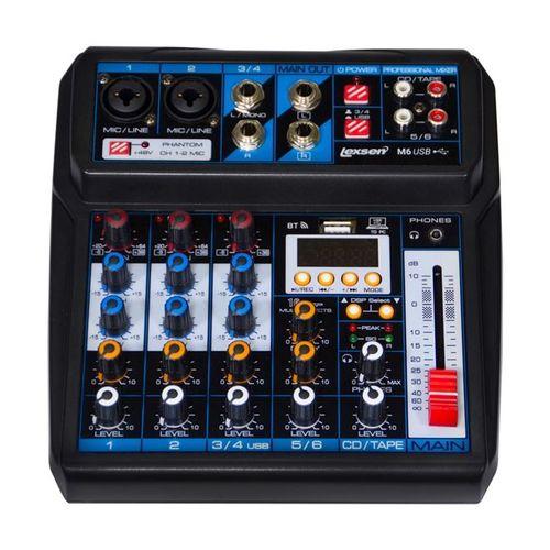 Mesa de Som Lexsen M6 USB Mixer Analógico de 6 Canais com MP3 e Bluetooth