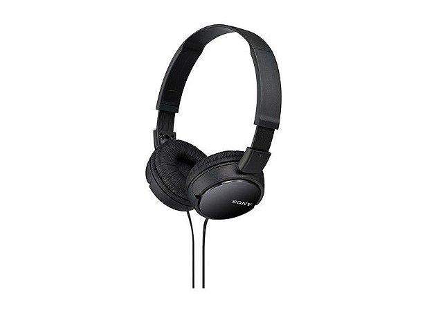 Headphone Sony MDR-ZX110 Preto dobrável e com proteção acolchoada