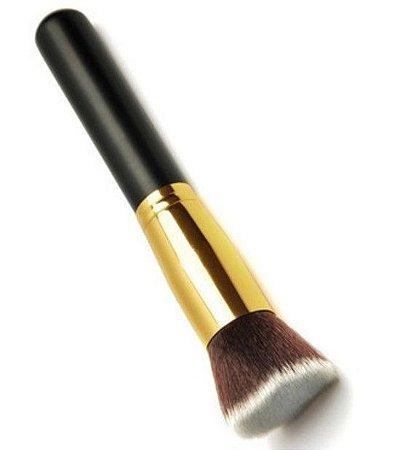 Pincel Kabuki Dourado Flat para Aplicação de Base