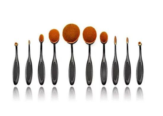 Kit com 10 Escovas Ovais para Maquiagem
