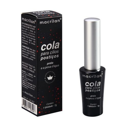 Cola Para Cílios Postiços a Prova d'agua Preta - Macrilan