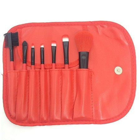 Kit 7 Pincéis Vermelho Makeup For You