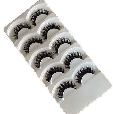 Caixa com 5 pares de Cílios Postiços Volumosos DF001