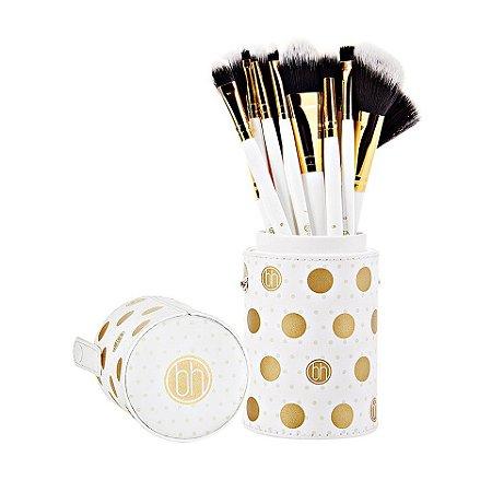 Kit com 11 Pincéis Branco Dot Collection - BH Cosmetics