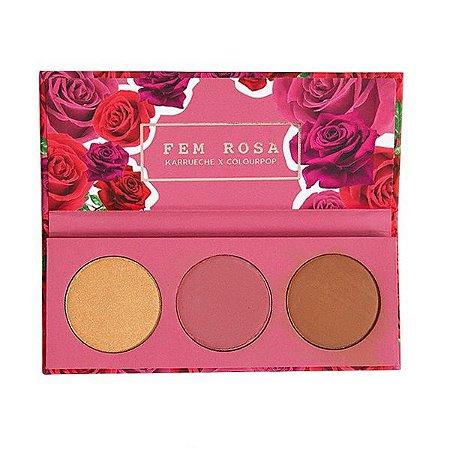 Paleta de iluminador. Blush e Contorno Fem Rosa - Colourpop