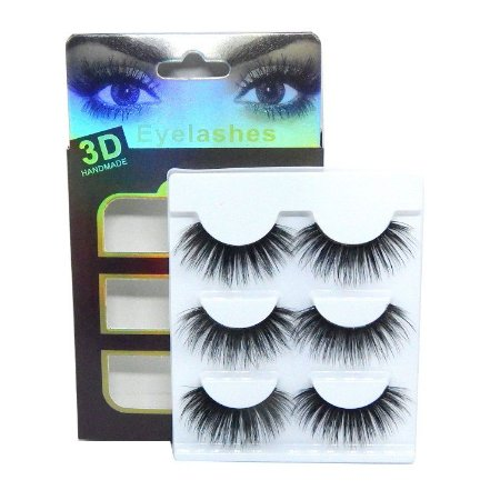 Caixa 3 pares cílios postiços Premium 3D F027