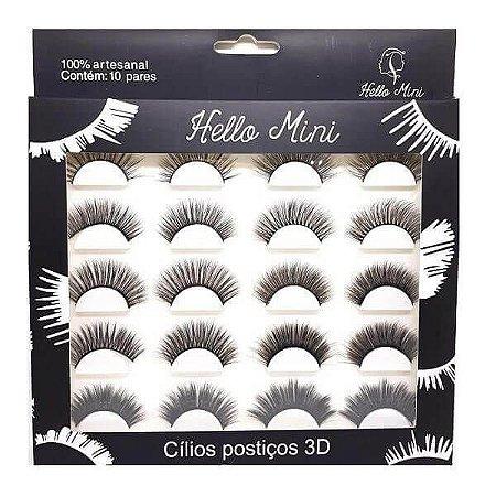 Caixa 10 pares de cílios postiços 3D - Hello Mini