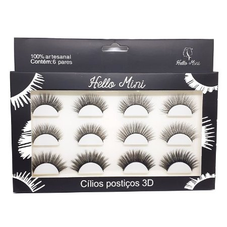 Caixa 6 pares de cílios postiços 3D - Hello Mini