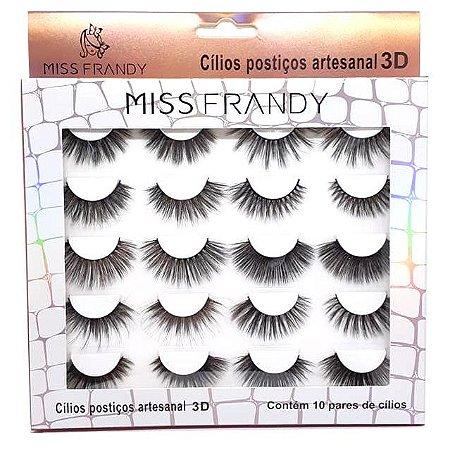 Caixa 10 pares de cílios postiços 3D - Miss Frandy