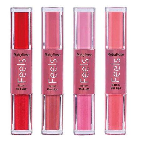 Batom líquido Duo Lips Feels - Ruby Rose