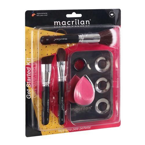 Kit 3 pincéis para maquiagem | 1 esponja | 1 placa - Macrilan