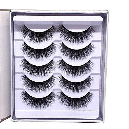 Caixa 5 pares cílios postiços 3D 0701 - Miss Frandy