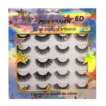 Caixa 10 pares cílios postiços 6D - Miss Frandy