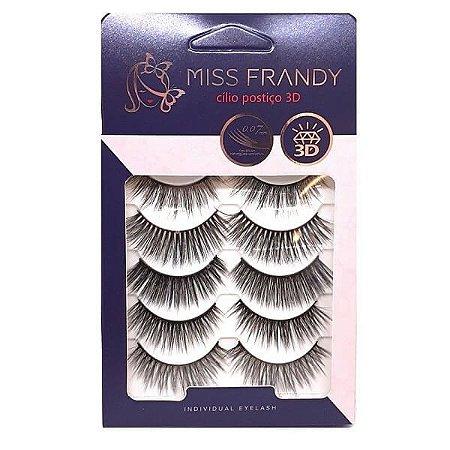 Caixa 5 pares cílios Postiços 3D #1 - Miss Frandy