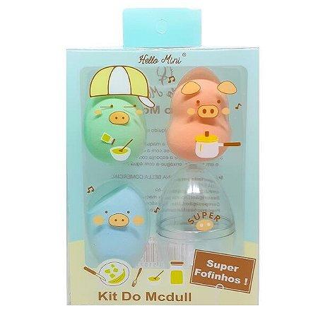 Trio de esponjas com suporte Mcdull - Hello Mini