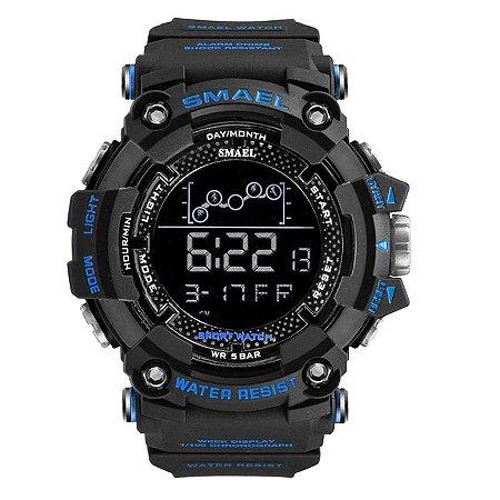 Relógio Masculino Smael Esporte 1802 Anti-Shock Digital Prova D'Agua Azul