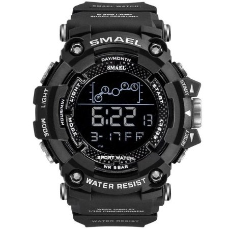 Relógio Masculino Smael Esporte 1802 Anti-Shock Digital Prova D'Agua Preto