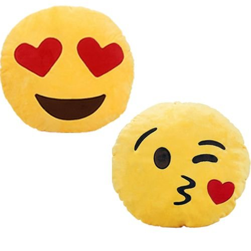 Kit 2 Almofadas Emoji Apaixonado + Beijinho 33cm