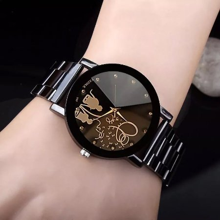 Relogio Luxo Feminino Elegante Romantico Fashion Casual Pulseira Metal 9add1a7679