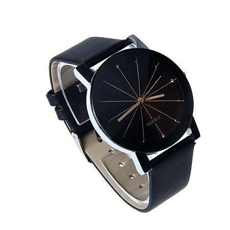 f249d87fb5f Relogio Luxo Fashion Prisma Diamante Pulseira de Couro Preto - AmigoZé