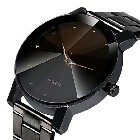 Relógio Masculino Luxo Prisma Diamante Elegante Pulseira Chumbo Brilhantes Ponteiros Dourados