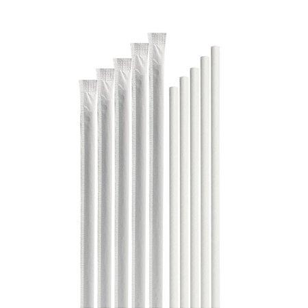 5000 Canudos de Papel Branco Individualmente Embalados BioTube Biodegradável