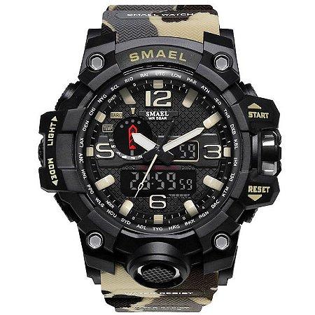 Relógio Masculino Esporte Militar Camuflado Exercito Delta Smael 1545