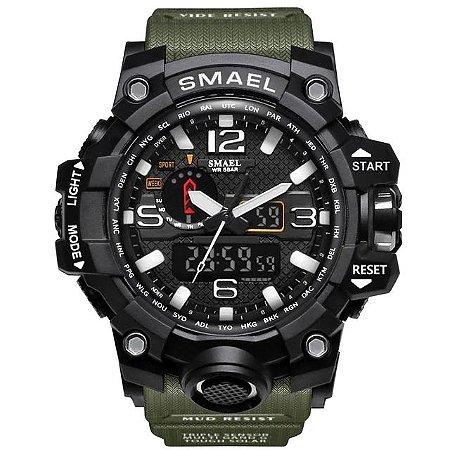 Relógio Masculino Verde Smael 1545 Militar Esportivo Prova D'água