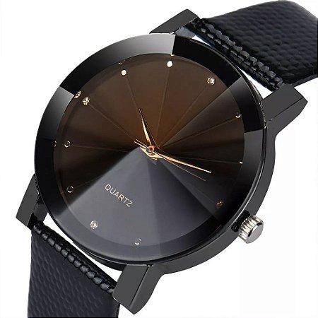 Relógio Feminino Luxo Diamante Brilhante Ponteiros Dourados Sport Couro InTimes