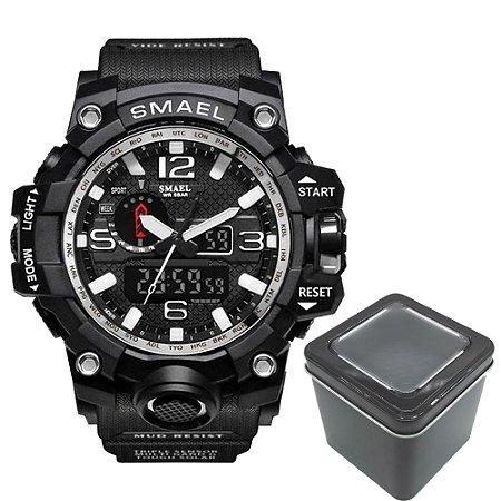 Relógio Masculino Militar Anti-Shock Smael 1545 Prova Agua Black Silver