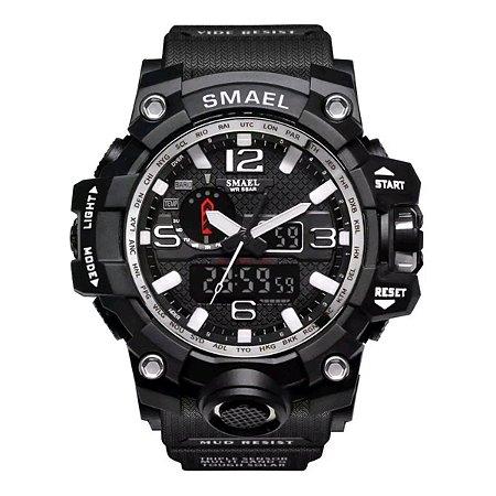 Relógio Masculino Militar G-Shock Smael 1545 Prova Agua Black Silver