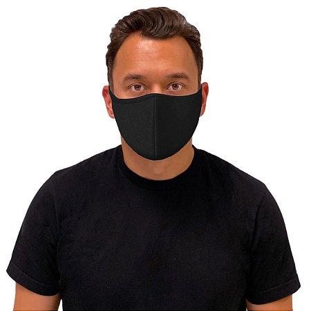 5 Máscara de Tecido Algodão Dupla Camada Anatômica Facial Lavável Reutilizável eMask Preta