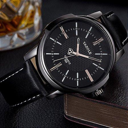 Relógio Masculino Luxo Yazole 358 Preto Dourado Pulseria Couro Natural