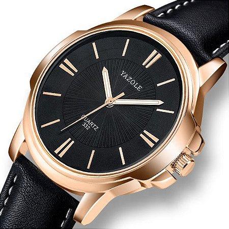 Relógio Masculino Luxo Yazole 332 Bronze Fundo Preto Pulseira Couro