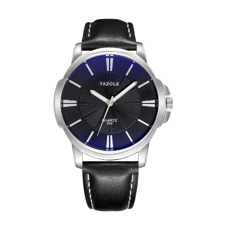 Relógio Masculino Luxo Yazole 332 Prata Fundo Preto Azulado Pulseira Couro Natural