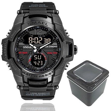 Relógio Smael 1805 Militar Sport Dual-Time Black Ops