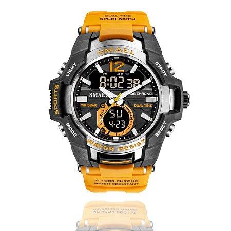 Relógio Masculino Smael 1805 Militar Sport Dual-Time Laranja