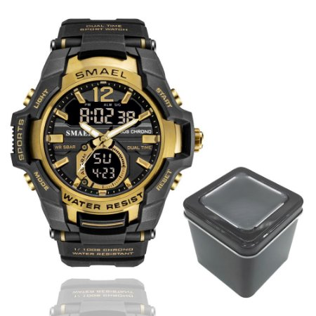 Relógio Masculino Smael 1805 Militar Sport Dual-Time Gold