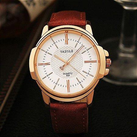 Relógio Masculino Yazole 358 Branco Caixa Bronze Pulseira Couro Natural