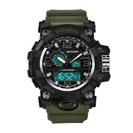 Relógio Masculino Sanda Militar Sport Anti-Shock Dual-Time 742 Verde Selva